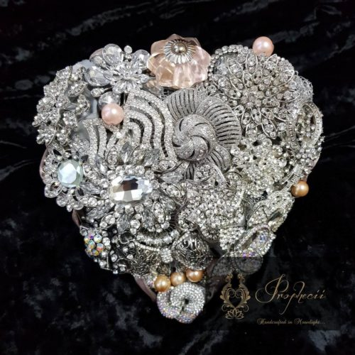Heart shaped brooch bouquet