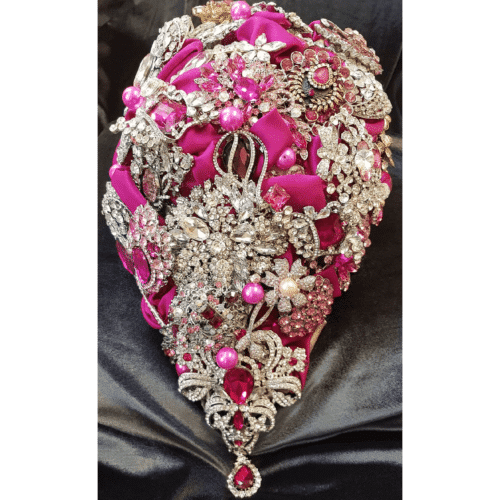 Pink and silver brooch bouquet by Prophecii