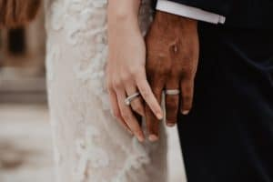 Couple married holding hands